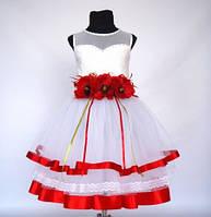Детское нарядное выпускное платье с цветами для девочки