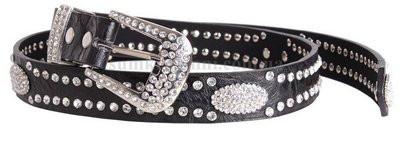 Стильный кожаный женский джинсовый ремень ST49189 черный ДхШ: 100х3,5 см.