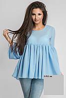 Блуза из креп-шифона свободного кроя 3-511 ан