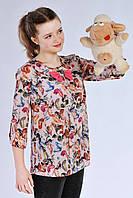 """Асимметричная яркая подростковая блуза с принтом """"лабутены"""", розовая"""