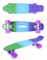 Доска для катания «GO Travel» (LS-P2206F) пенни борд Fuzion разноцветный, фиолетовые колеса, 56 см
