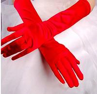 Женские перчатки атласные стрейчевые красные