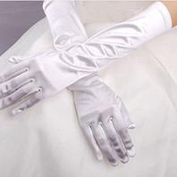 Женские перчатки атласные стрейчевые белые