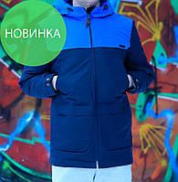 Парка мужская темно синяя, весна / осень 2017 / куртка мужская весна, с капюшоном