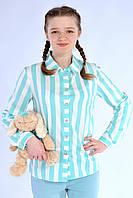 Модная подростковая рубашка для девочки в крупную полоску, мята