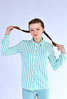 Модная подростковая рубашка для девочки в мелкую полоску, мята
