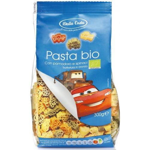 Макароны детские Dalla Costa Bio «Тачки» c томатом и шпинатом, 300 г.