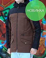 Парка мужская коричневая + черная, весна / осень 2017 / куртка мужская весна, с капюшоном, цвет коричневый