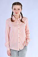 Модная подростковая рубашка для девочки в мелкую полоску, розовая
