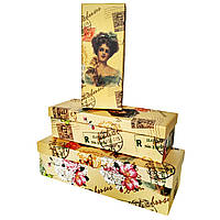 """Коробки подарочные """"Девушка с розой"""" (8723-3) набор из 3 шт"""