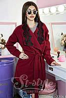 Женское легкое пальто с кружевной отделкой