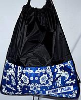 Сумки - затяжки для обуви для школы 42х38х9 (ЧЕРНЫЙ - ЦВЕТЫ)