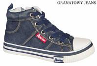Стильные, джинсовые высокие кеды American club аля Converse для женщин и подростков р.36,37,38,39,40,41 синие