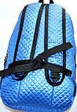 Стеганный бирюзовый рюкзак из плащевки 26*42 см, фото 2