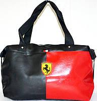 Женские спортивные\молодежные сумки универсальные Ferrari (5 цветов) ЧЕРНЫЙ с КРАСНЫМ