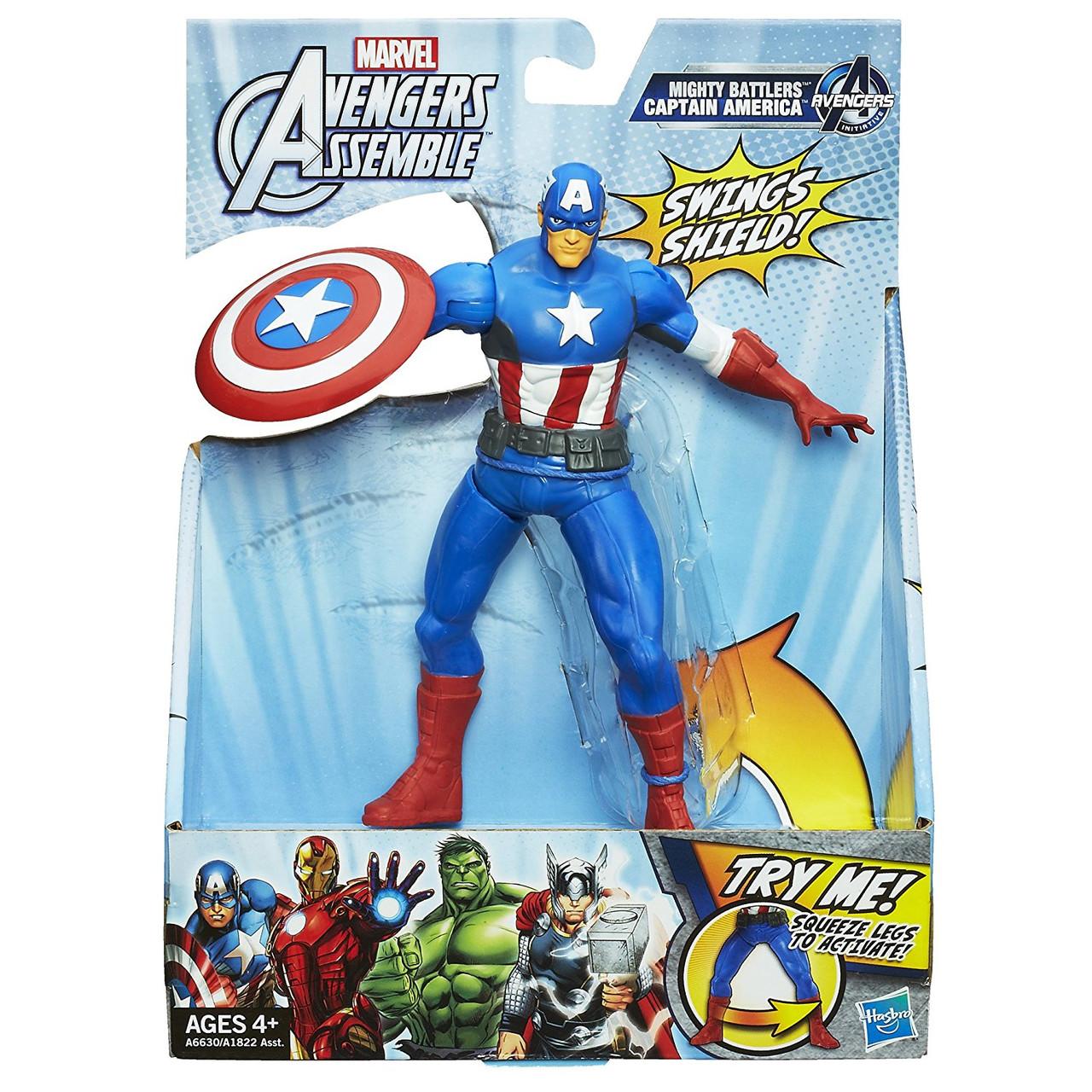 Фигурка Капитан Америка с боевым щитом 15СМ - Captain America, Avengers, Assemble, Squeeze Legs, Hasbro