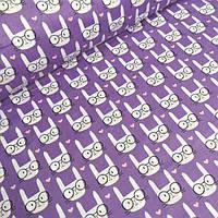 Ткань бязь с кроликами на фиолетовому фоне № 541