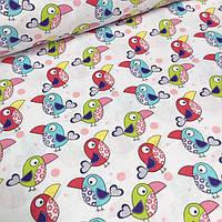 Хлопковая ткань с попугаями Какаду на белом фоне №543