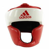 Боксерский шлем ADIDAS Response Pu Head Guard (бело-красный)