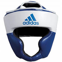Боксерский шлем ADIDAS Response Pu Head Guard (бело-синий)