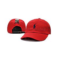 Красная кепка бейсболка Polo Ralph Lauren (кож. ремешок)