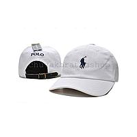 Белая кепка бейсболка Polo Ralph Lauren (кож. ремешок)