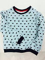 Красивый подростковый джемпер серого цвета, с принтом сердечки. Размеры: 116-146