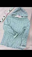 Трикотажная детская серая кофта с капюшоном. Размеры: 116-146