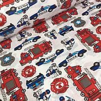 Детские ткани, хлопок полиция и пожарные  №550