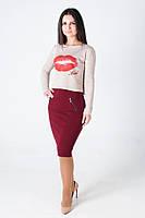 Модная укороченная женская кофта, цвета пудры с принтом губы-KISS