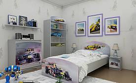 """Підліткове ліжко """"Formula 1"""" ДСП (90х190 см) ТМ Вальтер-С Сірий K3-10.09.55"""