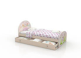 """Підліткове ліжко """"Віяло"""" з ящиком (90х190 см) для дівчинки ТМ Вальтер-С K2Y-1.09.29"""