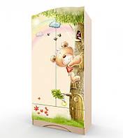 """Удобный и вместительный шкаф """"Мишка с букетом"""" без ящика (Размер: 183х100х47 см) ТМ Вальтер-С Венге светлый H-1.10.37"""