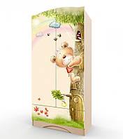 """Удобный и вместительный шкаф """"Мишка с букетом"""" с ящиком (Размер: 183х100х47 см) ТМ Вальтер-С Венге светлый HY-1.10.37"""