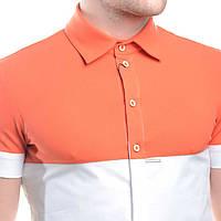 Мужская рубашка с коротким рукавом весна 2014 с контрастным верхом красная, оранжевая, синяя, зеленая