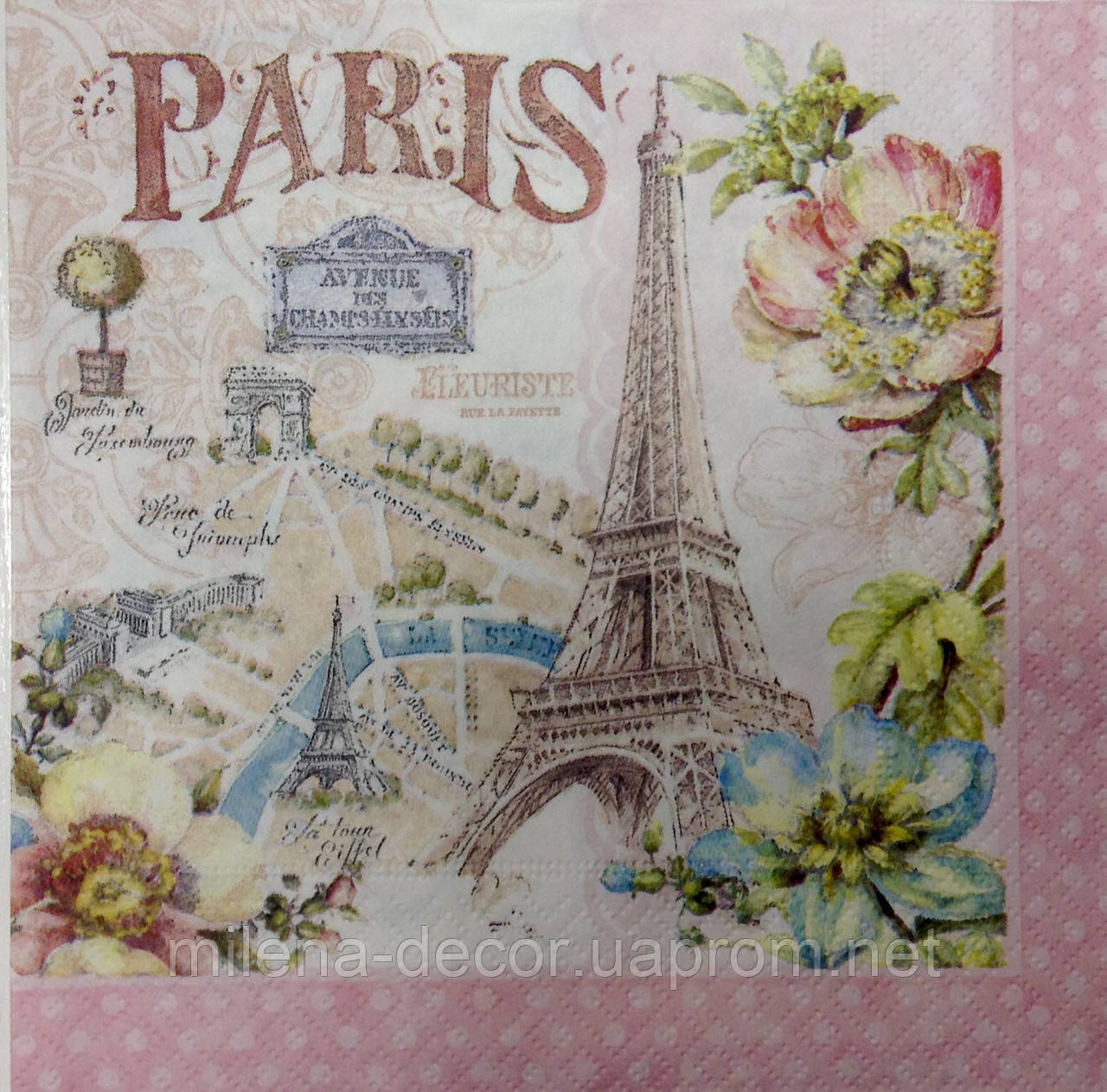 Салфетка для декупажа Париж (33*33 см.), фото 1