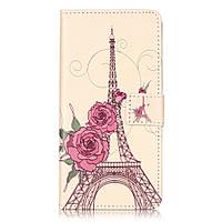 Чехол книжка TPU Wallet Printing для ZTE Blade V7 Flowers and Eiffel Tower