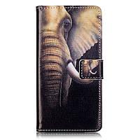 Чехол книжка TPU Wallet Printing для ZTE Blade V7 Elephant Pattern