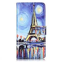 Чехол книжка TPU Wallet Printing для ZTE Blade V7 Starry Sky and Eiffel Tower