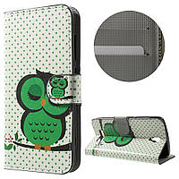 Чехол книжка TPU Wallet Printing для ZTE Blade L5 Plus Green Napping Owl