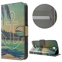 Чехол книжка TPU Wallet Printing для ZTE Blade L5 Plus Anchor and Sea