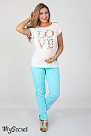Модные брюки-чинос для беремнных Semi, небесно-голубые*, фото 1