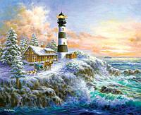 Алмазная вышивка Солнечный маяк у моря