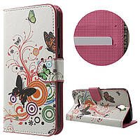 Чехол книжка TPU Wallet Printing для ZTE Blade L5 Plus Butterfly and Circle