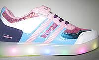 Супер модные детские кроссовки с светящейся подошвой для девочки, 34-35
