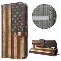 Чехол книжка TPU Wallet Printing для ZTE Blade L5 Plus Retro American Flag