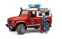 Bruder игрушка - джип  пожарный  land rover defender, свет и звук,  + фигурка пожарника, м1:16 (02596)