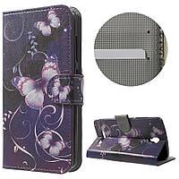 Чехол книжка TPU Wallet Printing для ZTE Blade L5 Plus Purple Butterfly