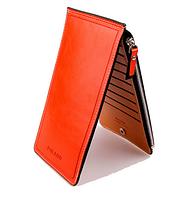 Оранжевый Портмоне (3 в 1: кошелек, визитница и документница)