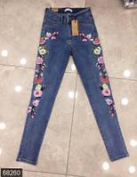 Красивые облегающие женские джинсы со средней посадкой и вышивкой Турция
